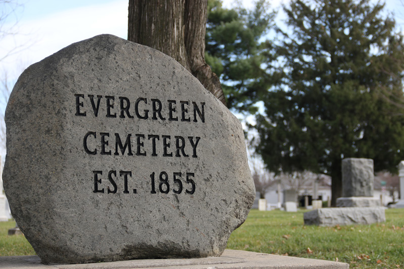 Evergreen Cemetery sign